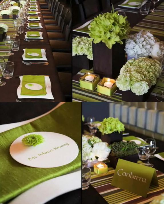 28 Green And Brown Decoration Ideas: Apple Green And Chocolate Brown Colour Combo