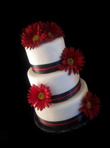 black-white-and-red-gerber-daisy-wedding-cake